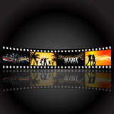 Film strip party people. Illustrations of people dancing on a film strip background Stock Photos