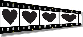 Film strip perspective. Illustration of a film strip perspective with heart Stock Photo