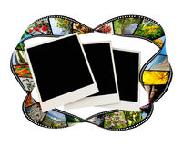 Film strip with photo frames. On white backgrounds vector illustration