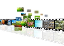 Film strip. With photo of nature landscape isolated on white background Stock Photos