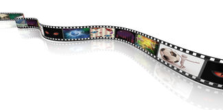 Film strip with pictures. 3d render of film strip with images Stock Photo