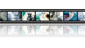 Film strip with pictures Yacht in the open sea. Film strip with beautiful holiday pictures yacht in the open sea on a sunny day. Collage Stock Images