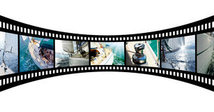 Film strip with pictures Yacht in the open sea. Film strip with beautiful holiday pictures yacht in the open sea on a sunny day. Collage Stock Photo
