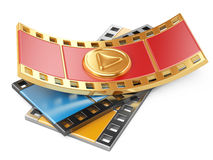 Film strip with a play button. 3d illustration isolated on a white Royalty Free Stock Images