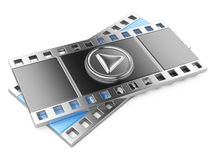 Film strip with a play button. 3d illustration isolated on a white Royalty Free Stock Image