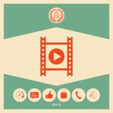 Film strip with play. Signs and symbols - graphic elements for your design Royalty Free Stock Photo