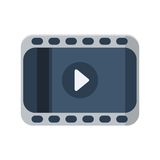 Film strip with play icon on white background Royalty Free Stock Images
