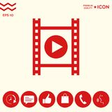 Film strip with play. Signs and symbols - graphic elements for your design Stock Photos