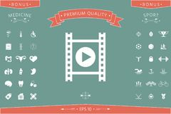Film strip with play. Signs and symbols - graphic elements for your design Stock Images