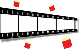Film strip with a popcorn bag. Illustration of a film strip with a popcorn bag Royalty Free Stock Image