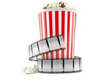 Film strip with popcorn. On white background Royalty Free Stock Photo