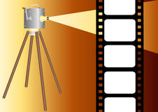 Film strip with projector illustration Royalty Free Stock Photography