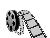 Film strip and reel. Over white vector illustration