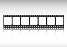 Film strip reflected royalty free stock photography