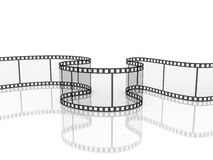 Film strip with reflection isolated,. 3d illustration Royalty Free Stock Image