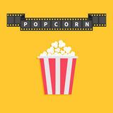 Film strip ribbon line with text. Popcorn. Red white box container. Cinema movie night icon in flat design style.. Yellow background. Vector illustration Royalty Free Stock Image