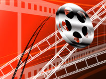 Film strip and roll, Cinema technology. Background Royalty Free Stock Image