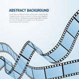 Film strip roll vector cinema background. Cinematography strip film background and wave stripe film illustration Stock Photos