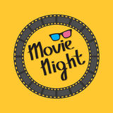Film Strip Round Circle Frame. 3D Glasses. Movie Night Text. Lettering. Yellow Background. Flat Design. Stock Image