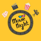 Film strip round circle frame. 3D glasses, popcorn, clapper board, ticket, projector icon set. Movie night text. Lettering. Yellow Stock Photo