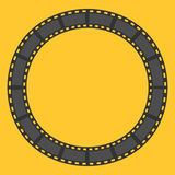 Film strip round circle frame. Template. Design element. Yellow background. Flat design. Vector illustration Royalty Free Stock Photo
