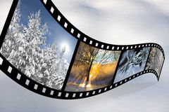 Film strip with Scandinavian winter pics Royalty Free Stock Image