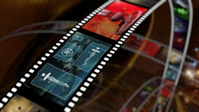Film strip with science fiction based concepts. An image of film reels with a variety of clips. Illustrated filmstrip with space and sci fi frames Royalty Free Stock Image