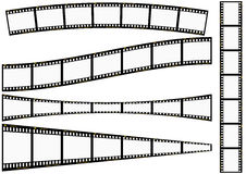 Film strip set. Negative strip in different angles isolated over white Royalty Free Stock Images