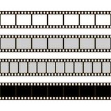 Film strip set. Collection of film for the camera. Cinema frame. Vector illustration. Template of negative on white background.  Royalty Free Stock Image