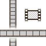 Film strip set. Collection of film for the camera. Cinema frame. Vector illustration template of negative isolated on white backgr. Film strip set. Collection of Royalty Free Stock Images