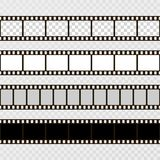 Film strip set. Collection of film for the camera. Cinema frame. Vector template on transparent background.  Stock Photos