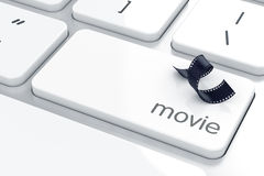 Film strip sign button. 3d illustration of film strip sign button on keyboard with soft focus Royalty Free Stock Photos