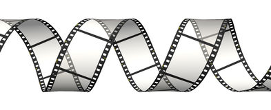 Film strip in spiral. Horizontal position. Horizontal strip of the film Royalty Free Stock Images