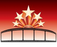 Film strip stars. Vector advertising for movie with stars Stock Image