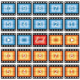 Film strip stills. With number countdown in blue and orange, isolated on white Stock Image