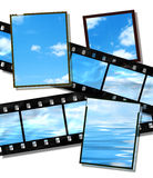 Film strip with  summer horizon image, high deta. Film strip and film plates with summer sky and ocean image on white background Royalty Free Stock Photography