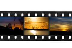 Film strip of sunsets Stock Photography