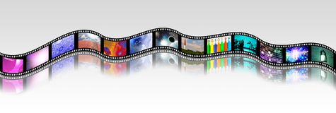 Bright Footage. Film strip of surreal and abstract footage. 3D rendering Stock Photography