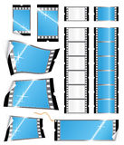 Film strip tags and stickers. Vector illustration of various glossy stickers and tags or labels in the shape of a film strip. Photography concept Stock Photography