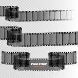 Film strip  on transparent background. Movie reel template. Vector Royalty Free Stock Photos