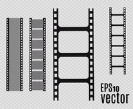 Film strip. Vector illustration. Set. Set of  film strip isolated on transparent background. Film strip Royalty Free Stock Photos