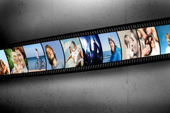 Film strip with vibrant photographs. People theme. Film strip with colorful, vibrant photographs on grunge wall. People theme. All pictures used are mine Stock Image