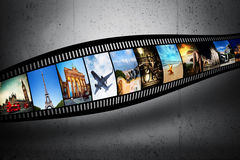Film strip with vibrant photographs. Travel theme. Film strip with colorful, vibrant photographs on grunge wall. Travel theme. All pictures used are mine Stock Images