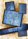 Film strip  with vintage grunge texture on grunge. Film strip and film plates with blue vintage grunge texture, high detail Stock Photography