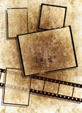 Film strip with vintage  texture on grunge paper. Film strip and film plates with vintage grunge texture, high detail Royalty Free Stock Images