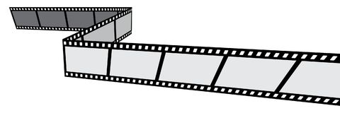 Film strip on white background. Vector illustration of film strips on white background - perspective view Stock Images
