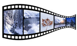 Film strip with winter images Stock Photos