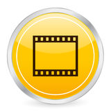 Film strip yellow circle icon Stock Image