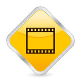 Film strip yellow square icon. Yellow square icon isolated on a white background. Vector illustration Stock Photo