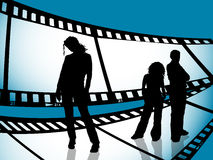 Film strip youth. Silhouettes of young people on film strip background Stock Photos